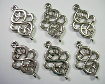 Silver plated swirls drops, loops, connectors, links, 6 - 28mm