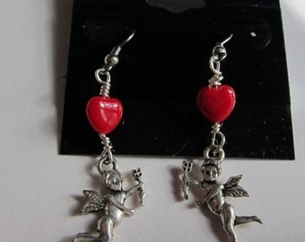 Cupid, red heart dangle earrings, Valentines Day