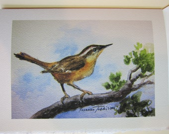 Carolina Wren Watercolor print 5 x 7 Note Card WatercolorsNmore Handmade Songbird