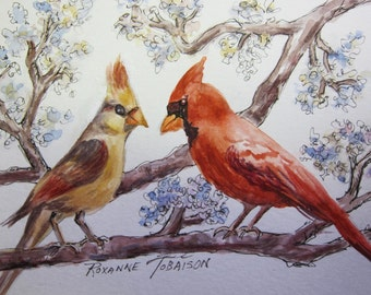 Cardinal in Cherry Blossoms birds watercolor print ACEO 929 WatercolorsNmore birds red