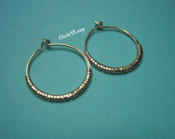 "3/4""(20mm) Medium 14k gold filled wire hoop with coil"