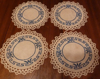 Blue & White Doilies