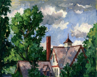 Summer Clouds at Shakespeare and Co, Berkshires. 8x10 Framed Impressionist Plein Air Landscape Painting, Signed Original Realist Fine Art