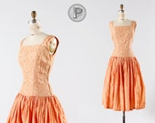 1960s dress small medium / peach lace dress : Showtime