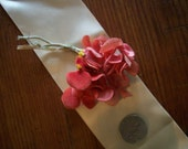 Doll sized millinery velvet and taffeta flowers in deep silk coral