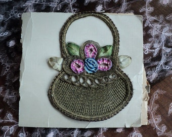 Vntage Ribbon Work Basket Flowers 1920s French Metallic Bullion original Applique