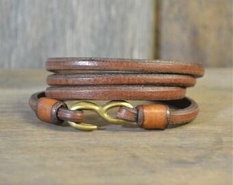 Brown Leather Hook Bracelet Original Design, Hand Made, Mens Leather Bracelet, Mens Brown Leather Bracelet, Womens Leather Bracelet