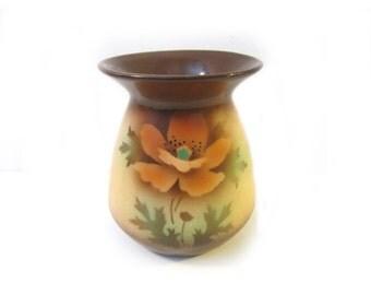 Vintage Mini Vase  Made in Czechoslovakia  Orange Poppy Brown