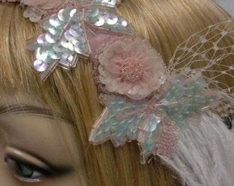 Pink and Mint Bead and Sequin Bridal Headpiece Flapper Hairband for Prom or Wedding OOAK