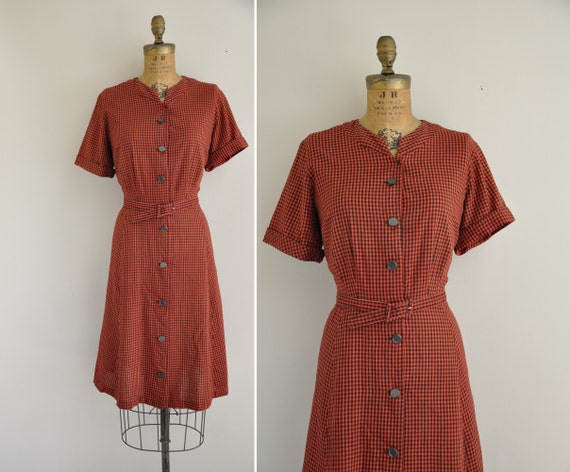 Cotton house dress and red mules