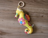 Flanel Stuffed SeaHorse Toy with Detachable Wood Teething Ring / Baby Comforter