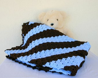Crochet afghan blue brown diagonal striped lap blanket throw bedding home decor coverlet coffee sky baby blue