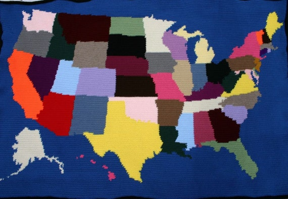 Crochet Afghan United States Map Blanket Throw Geography