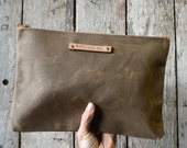 Large Waxed Canvas Pouch in Truffle, make up bag, waxed canvas clutch, cosmetic storage, make-up bag, waxed canvas bag, Zipper Pouch, cords