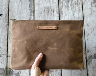 Large Waxed Canvas Pouch: Spice by Peg and Awl