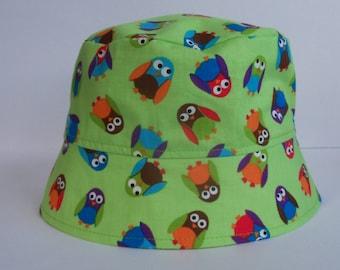 Gender Neutral - Infant Sun Hat - Owl Hat - BUCKET HAT - Sun Hat - Owls - What a Hoot - Fishing Hat
