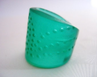 Green ring , cuff ring ,  resin ring , jewelry , spotted ring , resin ring cuff ,  chunky ring , teal ring , wrap ring, adjustable ring