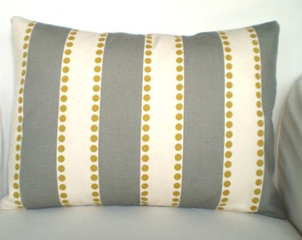 Gray Stripe Pillow Cover, Decorative Throw Pillows Lumbar Cushion Covers Grey Cream Lulu Stripes with Citrine Dots,  One 12 x 16 or 12 x 18