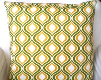 OUTDOOR Pillow Covers Green Yellow Decorative Throw Cushion Covers Moss Green Yellow White Geometric Indoor Outdoor Patio Deck Sunroom