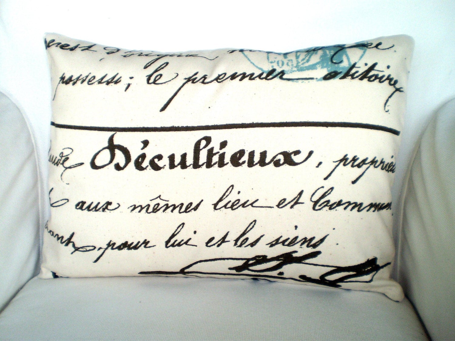 Throw Pillows With French Script : French Script Lumbar Pillow Cover Decorative Throw Pillow