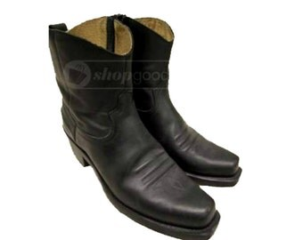 Vintage Mens Durango Cowboy Boots Pre-owned Black Leather Ankle High Western Boots Mns size 7D