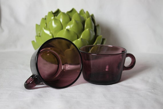 Two Amethyst color Vereco Cups Made in France French Expresso