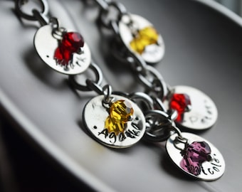 Personalized Bracelet, Hand Stamped Jewelry, Custom Bracelet, Mom, Mommy, Mother, Birthstone