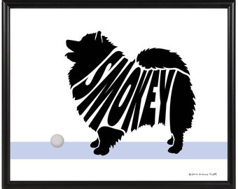 Personalized Keeshond Silhouette Print, Framed Gift for Dog Lover, Keeshond Wall Decor