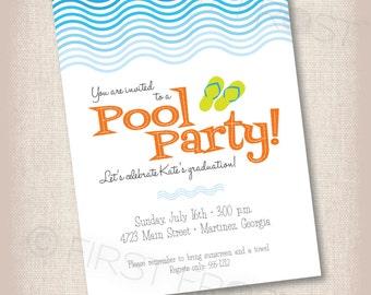 Pool Party Printable Invitation - Birthday, Graduation, Party, Celebration