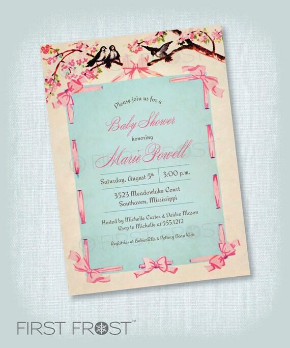 vintage floral ribbon printable invitation baby shower sip and