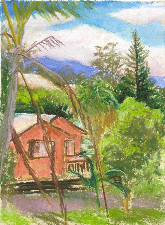 Hawaiian Art Pastel 9x12 Original Artwork Pastel Salmon House
