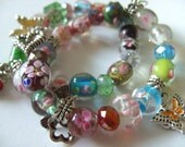 2, Summer, Charm bracelets,  Lamp work Glass, pastels, butterfly, mix colour, by NewellsJewels on etsy
