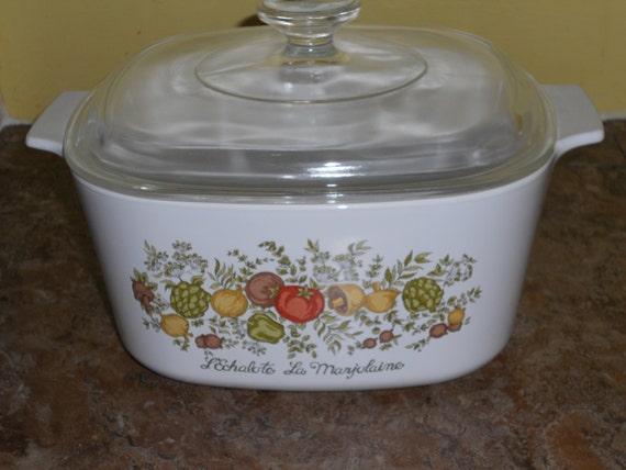 Vintage Corningware 3 Quart Casserole Dish Spice Of Life With