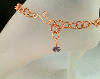 Natural Copper Ankle Bracelet with Purple Swarovski Crystal Bead Charm Adjustable 11 Inches Long With Your Choice of Clasp