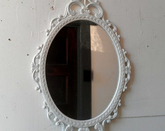 White Oval Mirror In Vintage Hand Carved By