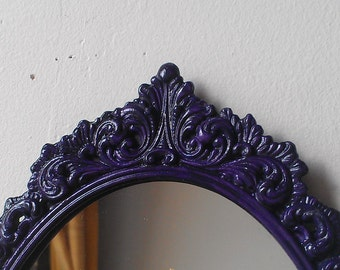 Filigree Wall Mirror in Vintage Deep Purple Frame 9 by 6 Inches