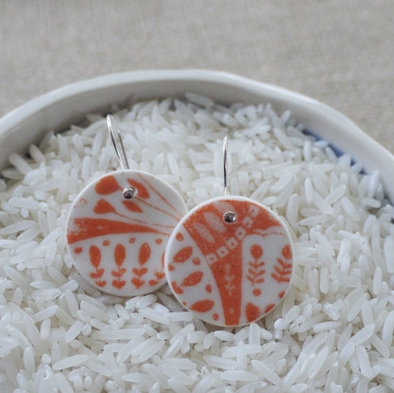 Porcelain Earrings, Ceramic Jewellery Indian Orange & Stirling Silver by Mrs Peterson Pottery