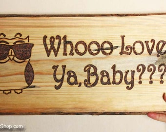 Whooo Loves Ya, Baby Cool Owl Valentine's Day Personalized Gift Wall Plaque