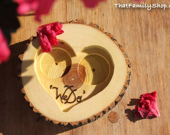 "Rustic 'We Do' Custom Log Ring Bearer ""Pillow"" Dish, Initials Date Custom Wood Burning"
