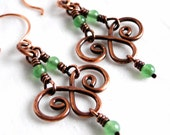 Chandelier Earrings, Handcrafted Jewelry, Green Aventurine Stone Beads, Antiqued Copper Earrings