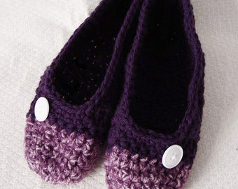 Crochet Slippers Womens  Two Tone Flats Deep Purple and Plum Mix