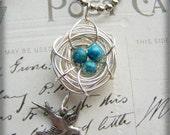 Bird Nest sparrow Necklace turquoise eggs silver tone
