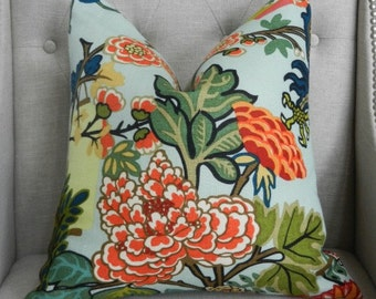 """Decorative Designer  Pillow Cover - 20""""X20"""" - Schumacher Chiang Mai Dragon in Aquamarine - Pattern on the front"""
