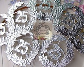 Vintage Style 25th Wedding Anniversary Foil Wreath Picks/ Floral Stems/1 DOZ