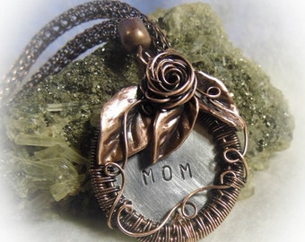 Antiqued Copper Wire Wrapped Hand Stamped Mom Necklace