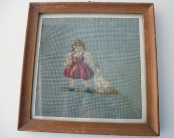 Vintage FRAMED NEEDLEPOINT- blue, girl, goose