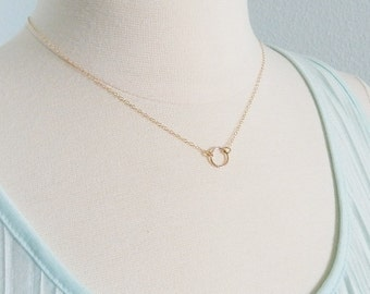 Gold circle necklace, gold fill, minimal modern jewelry