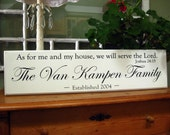 """Family Name Sign As for me and my house, we will serve the Lord""""  .....Carved Personalized Family Name Sign  8 x 30"""