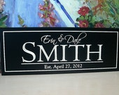 Personalized Family Name Sign Est. Date Sign 8 x 20 Plaque Established Carved Engraved