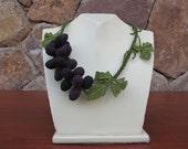 Black Grapes Necklace,Statement Necklace,Black Necklace,black grapes crochet necklace,grapes necklace,special design necklace
